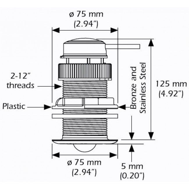 B&G DST800 transducer dimensions