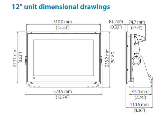 "B&G Vulcan FS Display 7"" unit dimensions - 02"