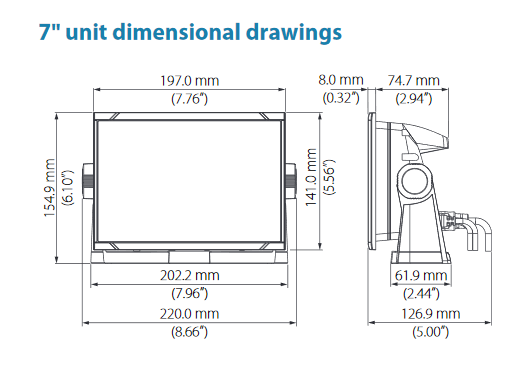 "B&G Vulcan FS Display 7"" unit dimensions - 01"