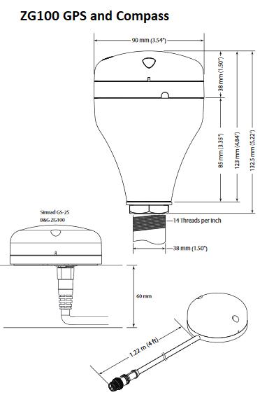 B&G - ZG100 GPS Antenna Dimensions